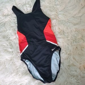 Nike athletic swimsuit women's size 6 red & black